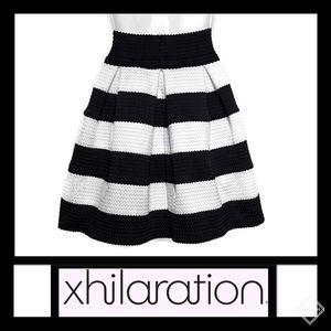 Xhilaration Stiff Pleated Striped Mini Skirt Sz S
